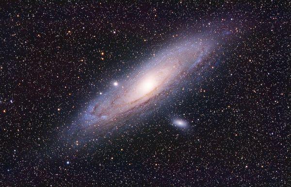 Große Andromedagalaxie M31. Mit im Bild sind die Satellitengalaxien M110 (unterhalb) und M32 (oberhalb, am Rand der Galaxie). Bild: Wikimedia Commons, Kees Scherer, gemeinfrei.