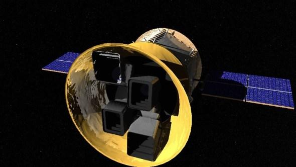 Der Transit Exoplanet Survey Satellite TESS mit Blick auf seine 4 Kameras. Bild: NASA/MIT, gemeinfrei.