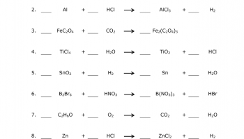 Balancing chemical equations homework