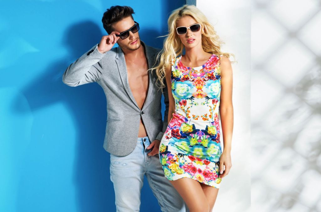 46023033 - glamour couple wearing trendy summer clothes