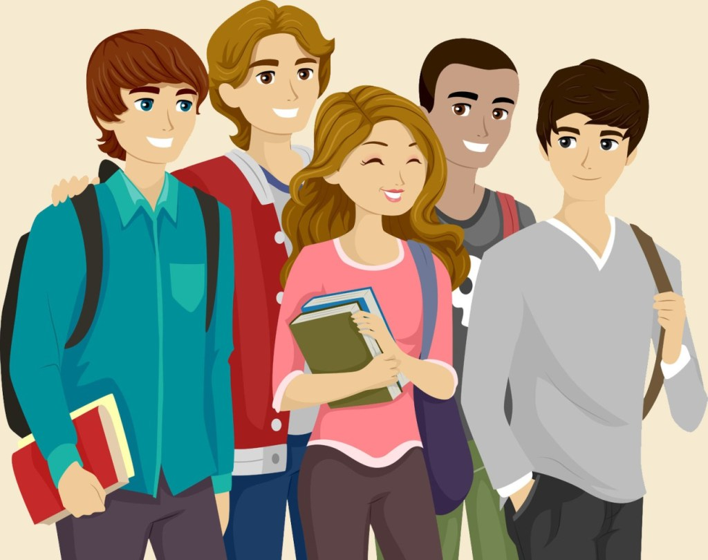 48026197 - illustration of a popular girl surrounded by teenage guys