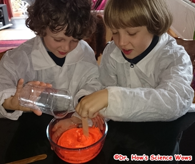 Mix together the glue mixture ans the borax solution