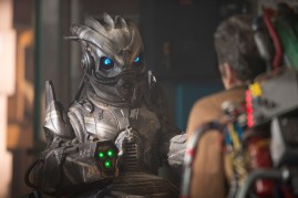 Picture shows: Peter Capaldi as The Doctor and Skovox Blitzer