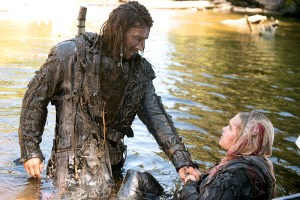 "The 100 -- ""Wanheda: Part Two"" -- Image HU302B_0221 -- Pictured (L-R): Zachary McGowan as Roan and Eliza Taylor as Clarke -- Credit: Diyah Pera/The CW -- © 2015 The CW Network, LLC. All Rights Reserved"