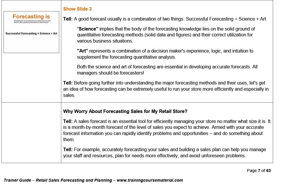 Retail sales planning and forecasting courseware training package - sales forecast