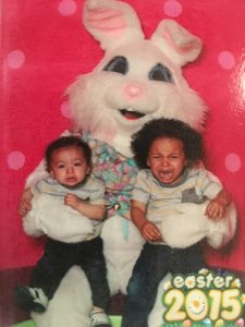 Something about a human in a rodent suit weirds out even the biggest Easter Bunny fans, like the Hamacher boys, shown here.
