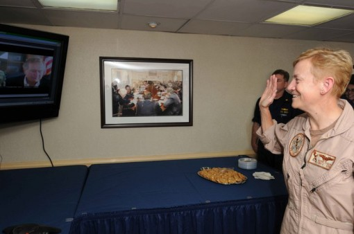 Rear Adm. Nora Tyson receives her second star while on the carrier George H.W. Bush in a ceremony with none other than George H.W. Bush. //  Photo by MCCS (SW/AW) Misty L. Trent