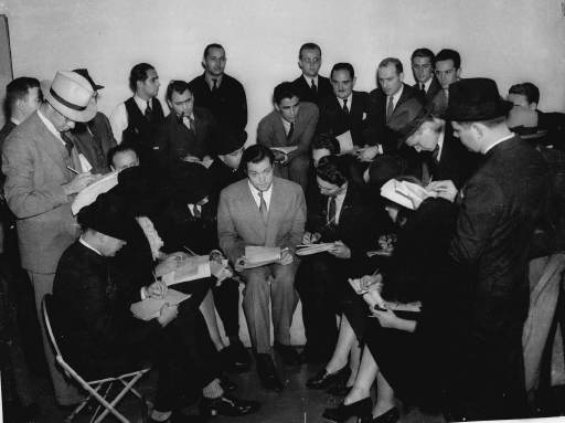 """Orson Welles meets the media in 1938 after his """"War of the Worlds"""" dramatization on Oct. 30, 1938, fooled many listeners (AP file photo)"""