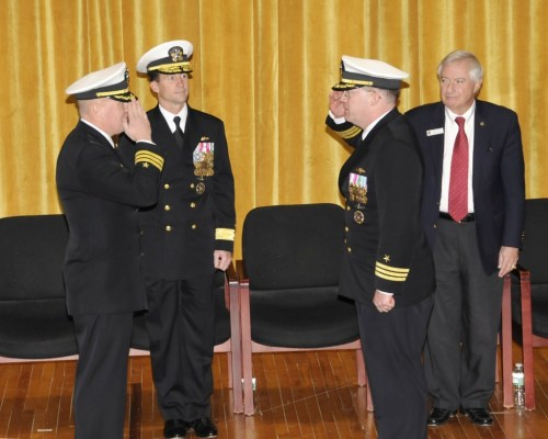 131115-N-TT535-057:  Portsmouth Naval Shipyard, Kittery, Maine.  Rear Adm. Kenneth Perry, Commander, Submarine Group 2 (second from left) presides over the Change of Command ceremony where Cmdr. Roger Meyer (left) is relieved Cmdr. Rolf Spelker (second from right) as Commanding Officer, USS Miami (SSN 755).  Miami is currently undergoing inactivation at Portsmouth Naval Shipyard.  (U.S. Navy photo by Jim Cleveland/Released)