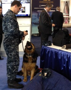Bleck and MA2 Evan Desrosiers man the Navy Installations Command booth at Sea Air Space 2015 outside Washington. (Meghann Myers/STAFF)