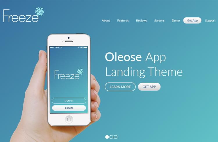 Oleose - Eye Catching Mobile App Landing Page - app landing page template