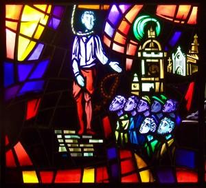 The Martyrdom of St. John Ogilvie Stained glass window in the college