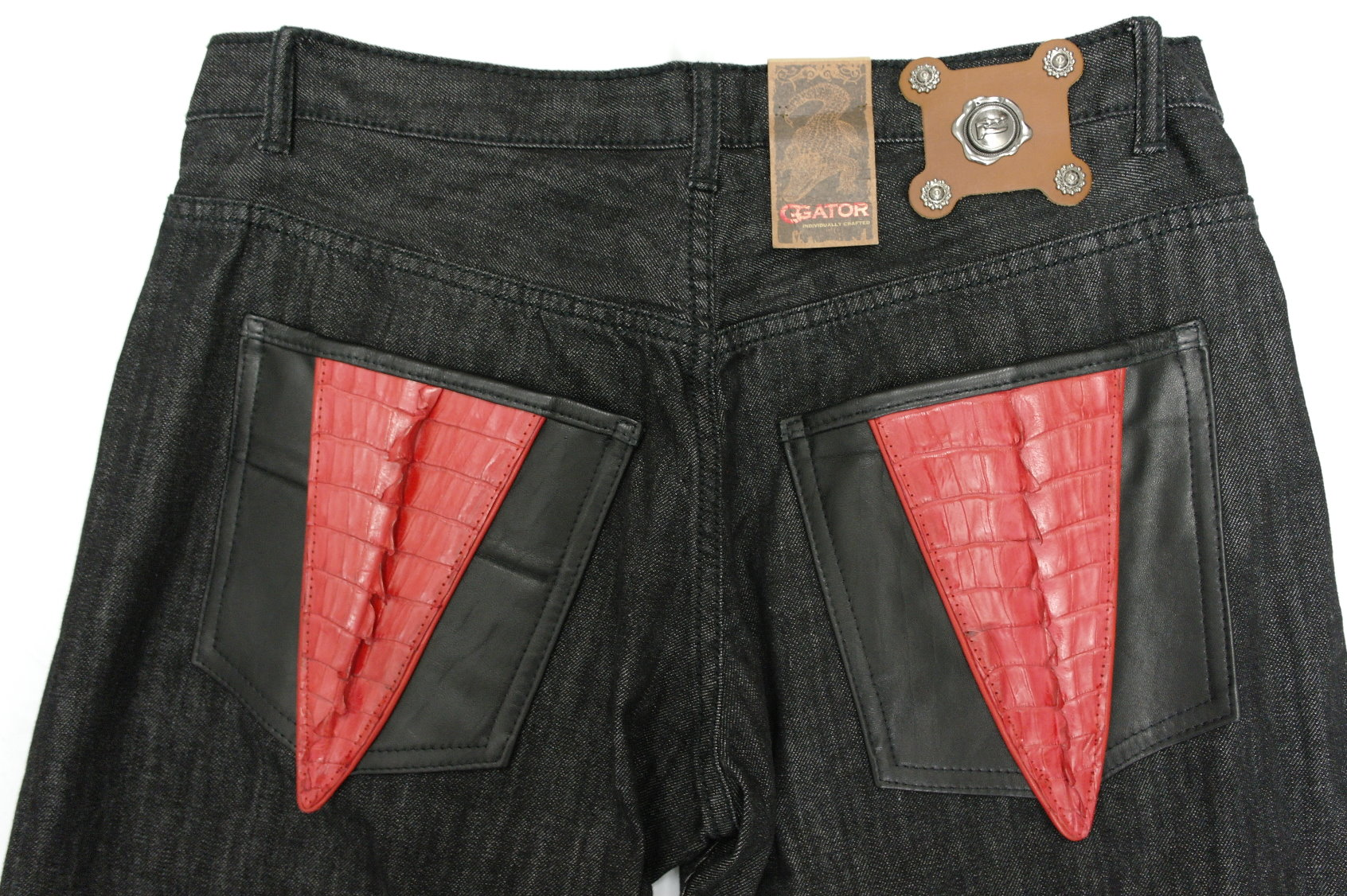G Gator Jean Black Denim Red Genuine Alligator Tail