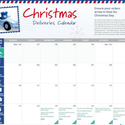 Christmas Delivery Dates Calendar