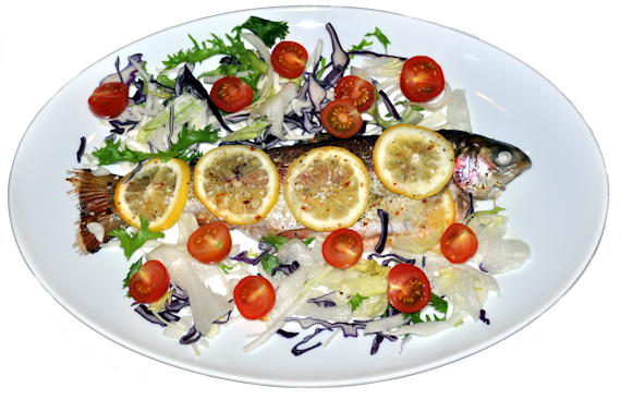 Whole Baked Rainbow Trout with Lemon and Parsley