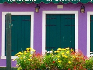 Burano colored houses 3 lavendar with green doors