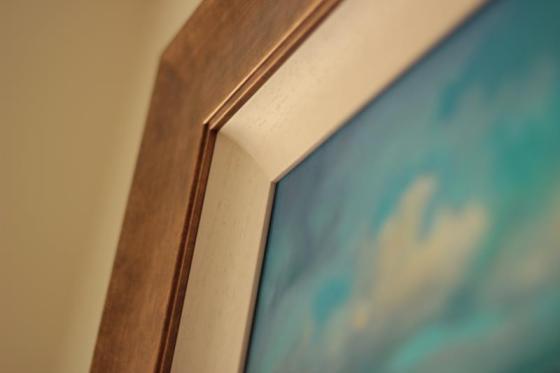 Framed Cyan Sailing painting