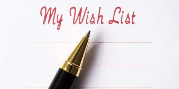 Wish list with pen