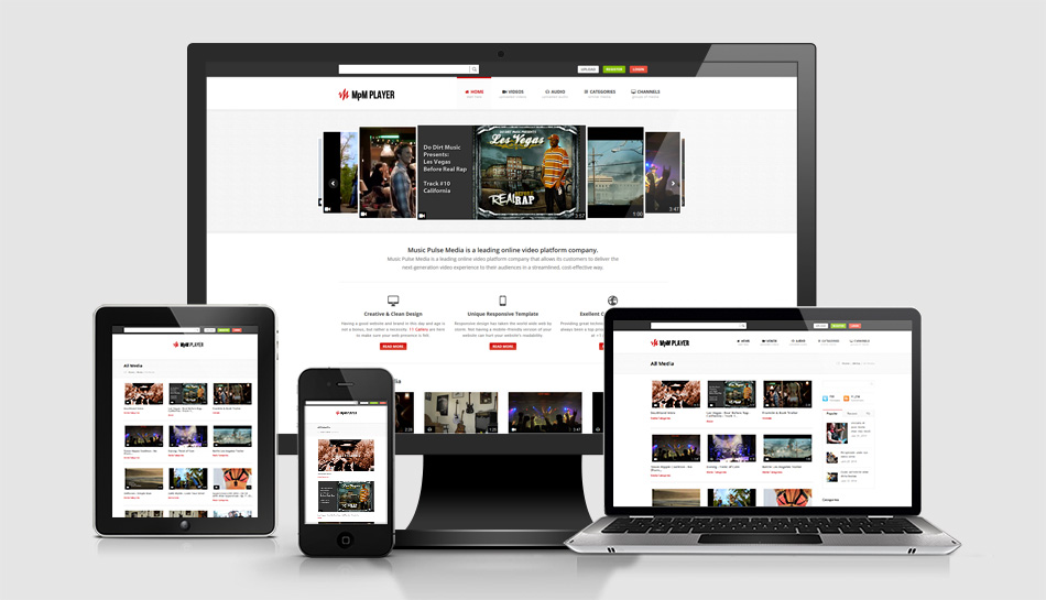 Scott Geithman Designs MpMPlayer Responsive Media Website for - Responsive Media