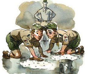 Boy Scout Image -- Fighting