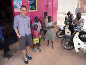 Chris Bashinelli's journey as host of Bridge the Gap has taken him to Uganda (shown in photo), Haiti, Indonesia, and beyond. His worldview—even at age 25—earned him a spot next to Dr. Jane Goodall, Stevie Wonder, and Michael Douglas at the 2011 United Nations' International Day of Peace.