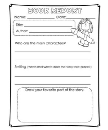 1st Grade Book Report Template PDF - Free Download (PRINTABLE) - book report printable