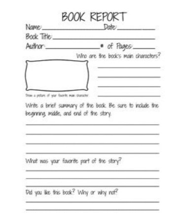 2nd Grade Book Report Template PDF - Free Download (PRINTABLE) - book report printable