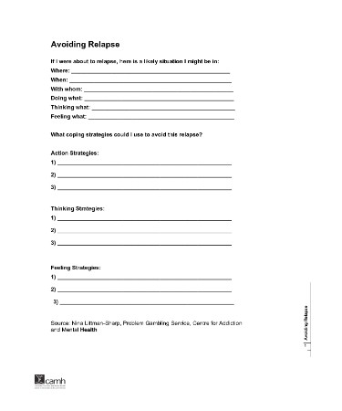 Relapse Prevention Plan Template PDF - Free Download (PRINTABLE)