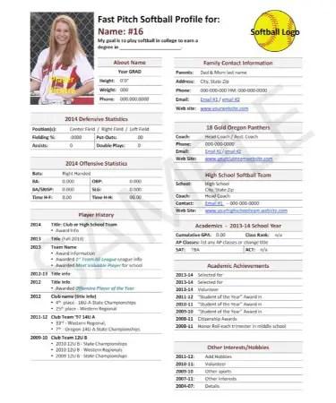 Softball Player Profile Template PDF - Free Download (PRINTABLE)