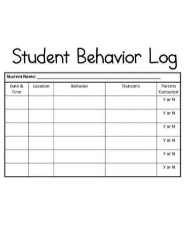 Student Behavior Log Template PDF - Free Download (PRINTABLE)