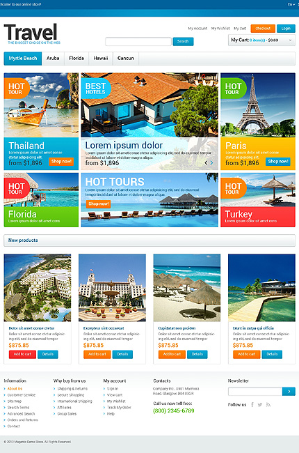 Travel Agency Store Magento Theme ProperHost