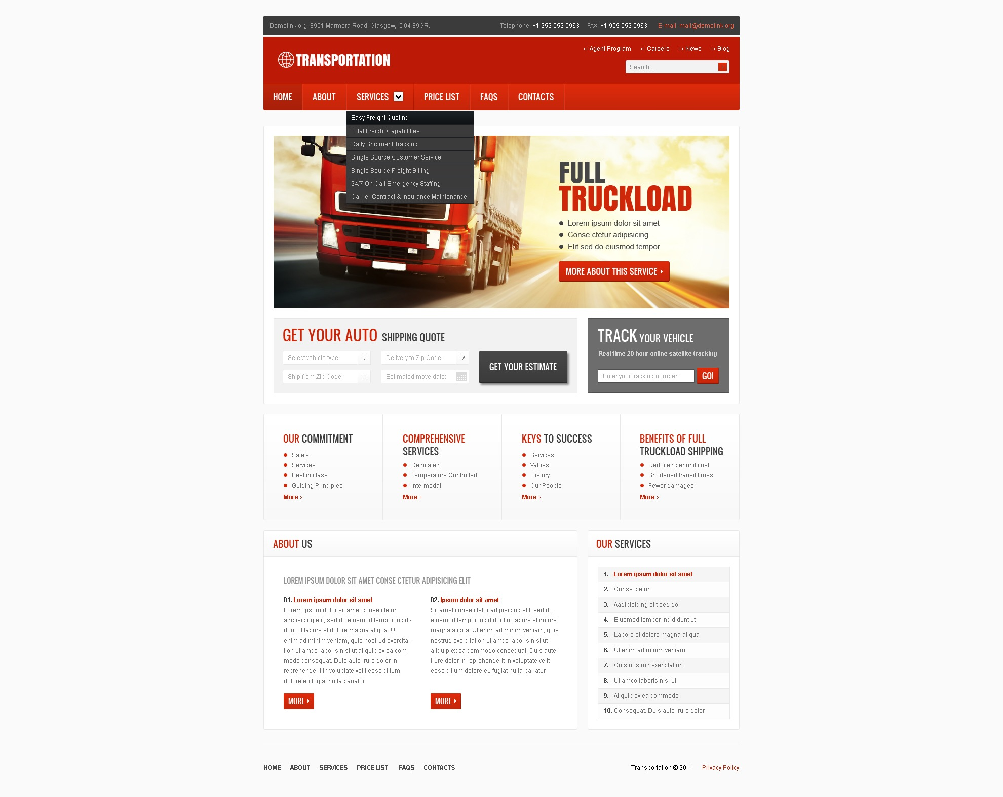 After Effects Templates Free Download Zip Trucking Website Template 36403