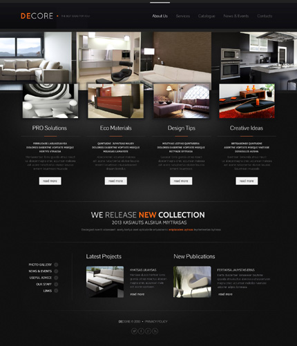 Black Interior Design Website Template by Delta - Bootstrap