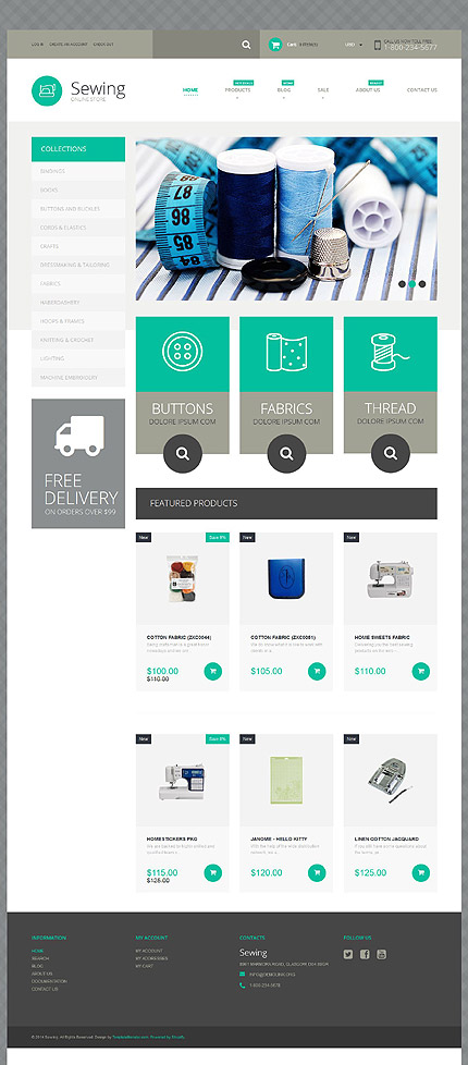 Sewing Supplies Shopify Theme #233 Template Shop - shopify template
