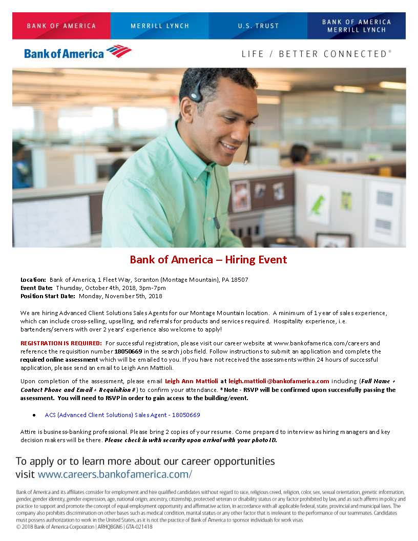 Montage Jobs Bank Of America Hosting Hiring Event The Greater Scranton Chamber