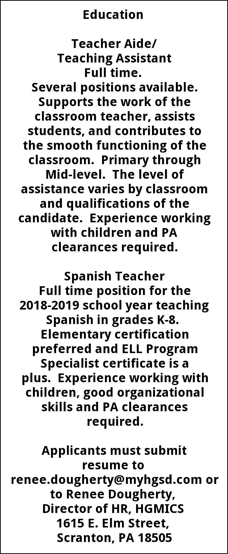 Teacher Aide/ Teaching Assistant Spanish Teacher, Howard Gardner School