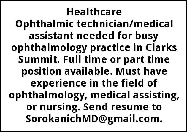 Ophthalmic Technician, Sorokanich Jr Md