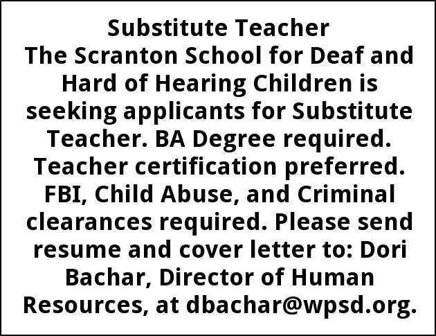 Substitute Teacher, The Scranton School For Deaf