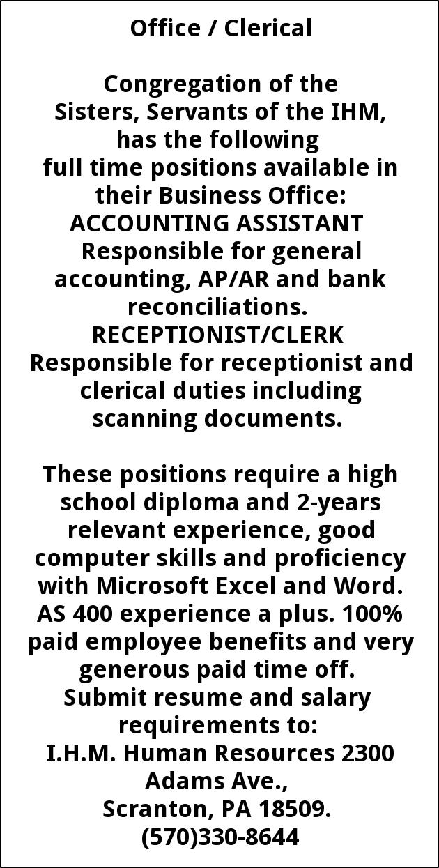 Accounting Assistant Receptionist/ Clerk, Sisters Of Ihm-human
