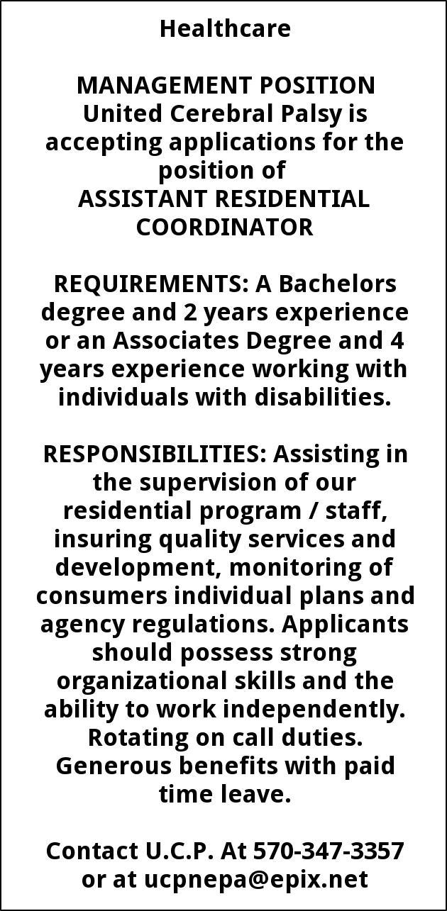 Management Position, United Cerebral Palsy, Washington, DC