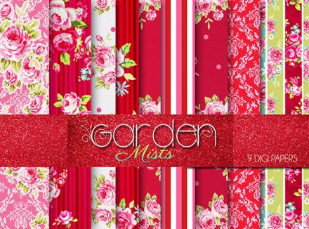 Free Garden Mists Floral papers from Craft a Doodle Doo