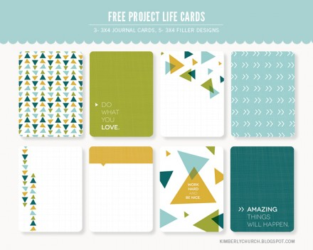 Free Project Life Journaling Cards from Kimberly Church Design