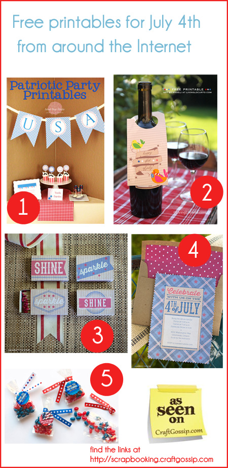Five Free Printables for July 4th- Round-up at Craft Gossip