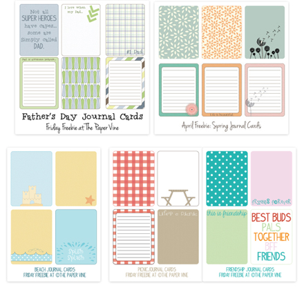 Free  3x4 Journaling Cards from The Paper Vine