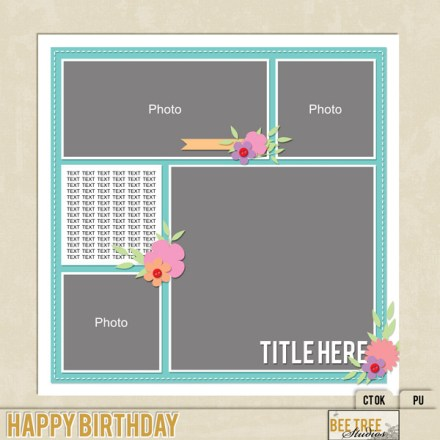 Freebie - Bee Tree Studios - happy birthday template