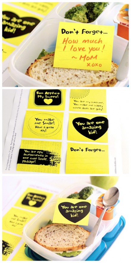 Freebie - Printable Lunchbox Lovenotes from Dabbles & Babbles