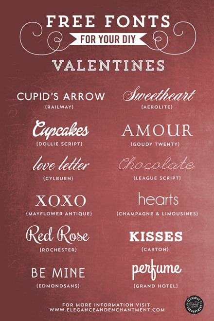Free Fonts for Your Valentines from Elegance and Enchantment