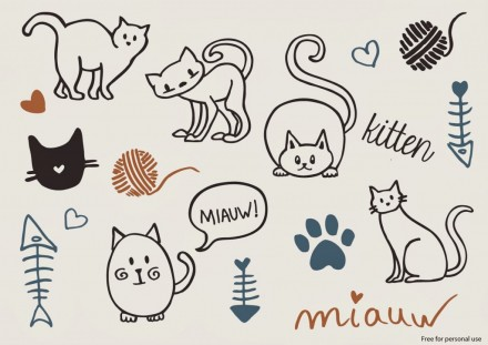 Freebie - cat vectors from Curly Made