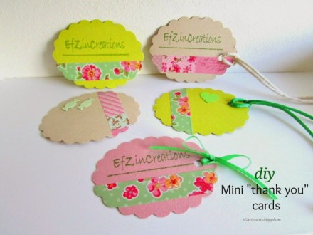 Tutorial - Mini Thank You Cards by Efzin Creations