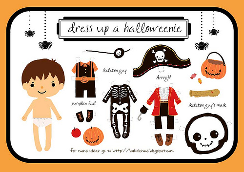 Freebie - Dress up a Halloweenie Boy - Halloween Printable